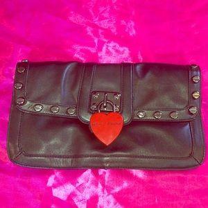 Rare Leather Heart Lock Clutch